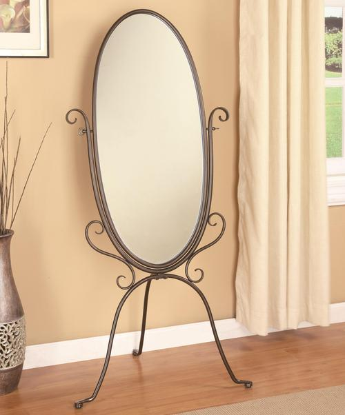 Coaster accent mirrors metal cheval mirror for Large bedroom floor mirror