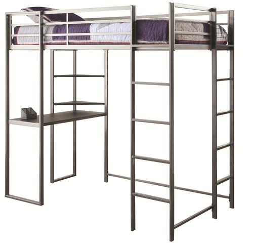 coaster bunks metal twin workstation loft bed with desk and 2 ladders