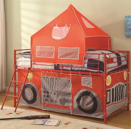 Coaster Bunks Twin Fire Engine Loft Bed With Attached Ladder And