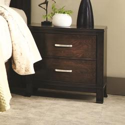 Ingram 2 Drawer Night Stand with Slightly Flared Legs and Rectangular Metal Handles
