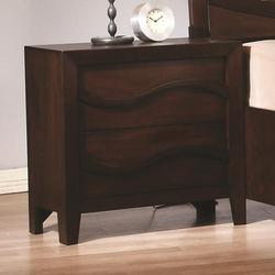Loncar Contemporary Wave Night Stand with Two Drawers