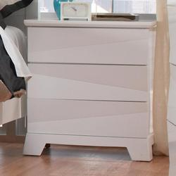 Karolina Contemporary Night Stand with Asymmetrical Facets & Hidden Drawer Pulls