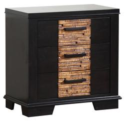 Dominic Contemporary 3-Drawer Night Stand with Gray & Textured Oak-Like Finish