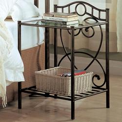 Violet Transitional Iron Nightstand with Shelf