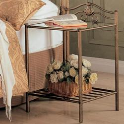 Sydney Transitional Iron Nightstand with Shelf