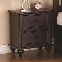 Oliver 2 Drawer Night Stand with Turned Feet and Large Dentil Moulding