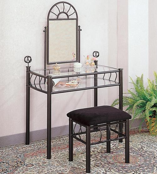 Coaster Vanities Casual Wrought Iron Vanity Set with Glass ...