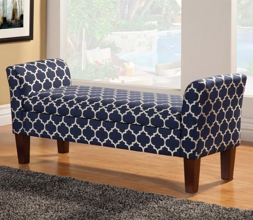 Coaster Benches Storage Bench In Navy Blue Quatrefoil Print
