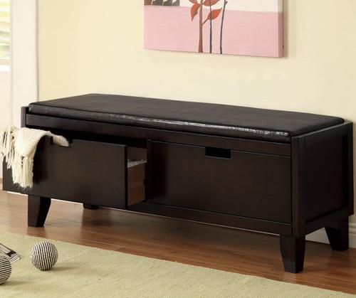 Attractive Benches Dark Walnut Storage Bench With 2 Drawers