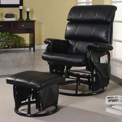 Recliners with Ottomans Black Leatherette Glider with Matching Ottoman