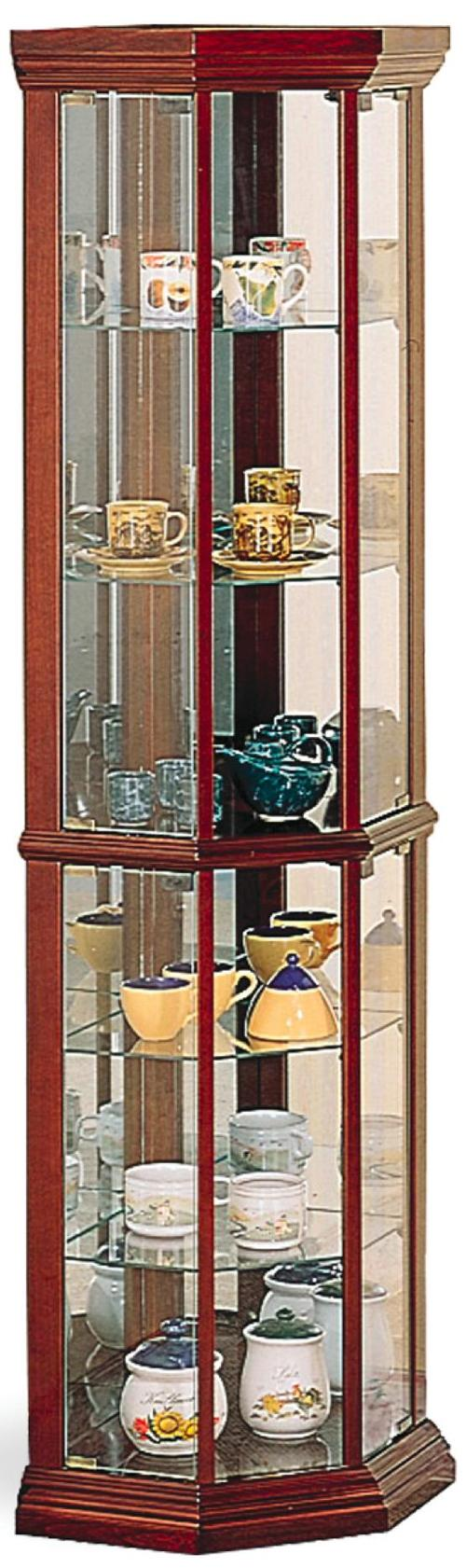 Coaster Curio Cabinets Solid Wood Cherry Glass Corner Curio ...