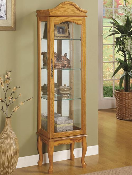 Curio Cabinets 4 Shelf Wood Cabinet With Gl Panels Curved Legs