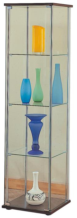 Curio Cabinets 4 Shelf Glass Curio Cabinet with Cappuccino Top & Bottom