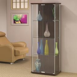Curio Cabinets All Glass Front Rectangle Curio with Dark Back Panel