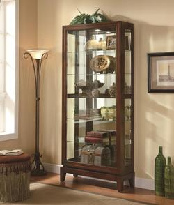 Curio Cabinets 6 Shelf Curio Cabinet with Mirrored Back and Can Lighting