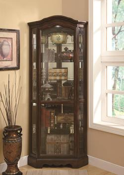Curio Cabinets 5 Shelf Corner Curio Cabinet with Shaped Crown & Base