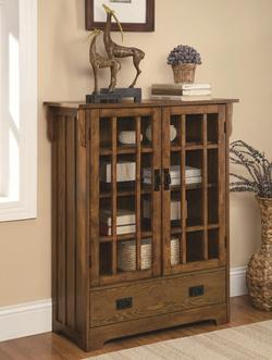 Curio Cabinets 2 Door Curio Cabinet with 4 Shelves & Distressed Warm Brown Oak Finish