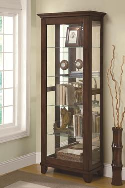 Curio Cabinets 5 Shelf Curio Cabinet with Mirrored Back & Can Lighting