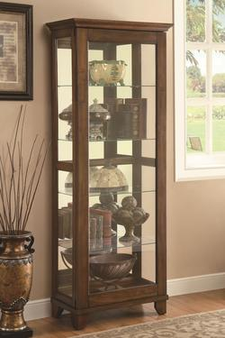 Curio Cabinets 5 Shelf Curio Cabinet with Warm Brown Finish & Mirrored Back