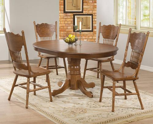 Brooks 5 Piece Table Set With Oak Finish Round/Oval Table