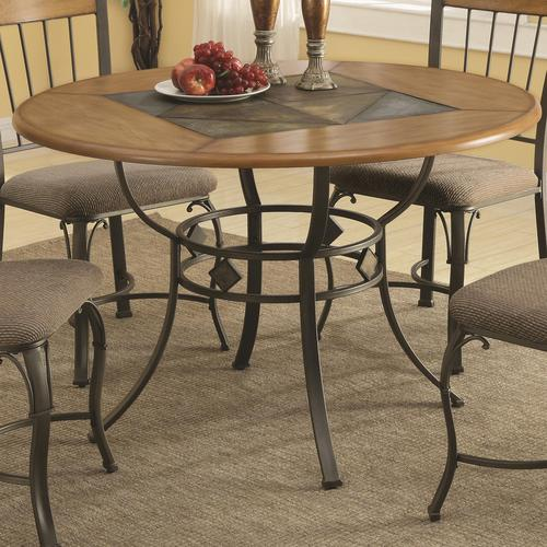 Coaster 1207 round dining table with metal legs and wood for Looking for round dining table