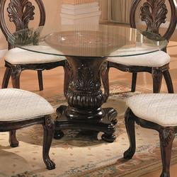 Tabitha Traditional Round Dining Table with Glass Top