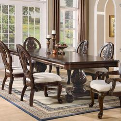Tabitha Traditional Rectangular Double Pedestal Dining Table