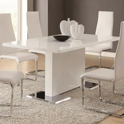Modern Dining White Dining Table with Chrome Metal Base