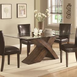 Nessa Large Scaled X Base Dining Table with Glass Top
