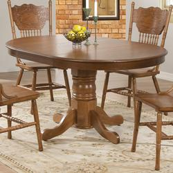 Brooks Oak Finish Round/Oval Dining Table with Single Pedestal