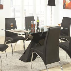 Ophelia Contemporary Glass Top Dining Table with Black X Pedestal