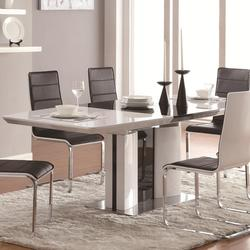 Broderick Contemporary White Rectangular Dining Table with Chrome Base