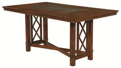 Pembrook Transitional Style Dining Table with Inset Glass Top and 2 Removable Leaves