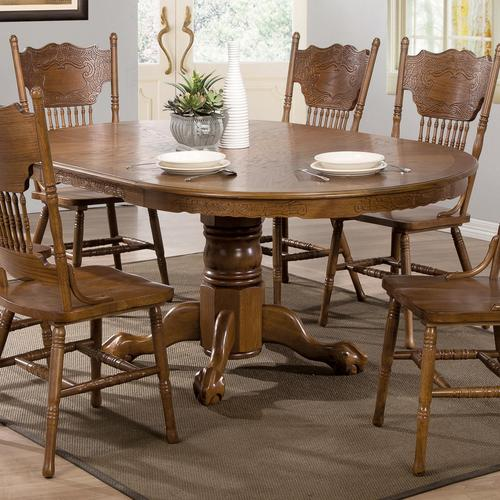 Awesome Coaster Brooks Oak Finish Round Oval Dining Table With Pabps2019 Chair Design Images Pabps2019Com