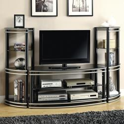 Wall Units Demilune Black/Silver Finish TV Stand & 2 Media Towers