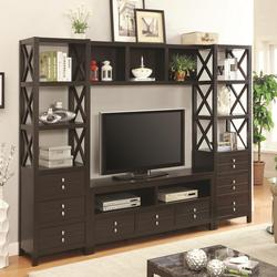 Wall Units Entertainment Wall Unit with 9 Drawers and 9 Shelves
