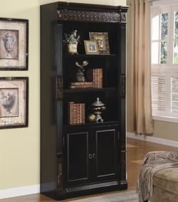 Nicolas Traditional Slim Bookcase with Carvings and Enclosed Storage Cabinet