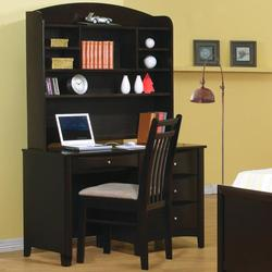 Phoenix Single Pedestal Youth Computer Desk with Hutch