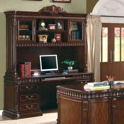 Union Hill Computer Desk & Hutch with Detailed Carvings