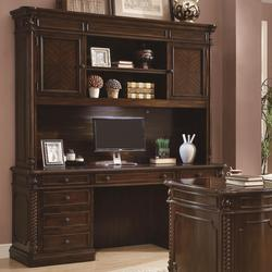 Webb 7 Drawer Computer Desk and Hutch with Center Keyboard Drawer, Hidden CPU Storage and Task Lighting