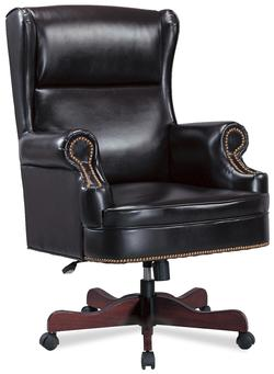 Office Chairs Traditional Faux Leather Winged Executive Chair