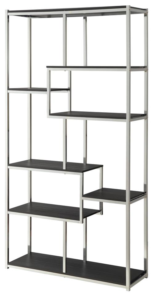 Bookcases Contemporary Metal Frame Bookcase With Cappuccino Shelves