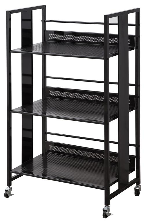 Bookcases Contemporary Black Metal Bookcase With Casters