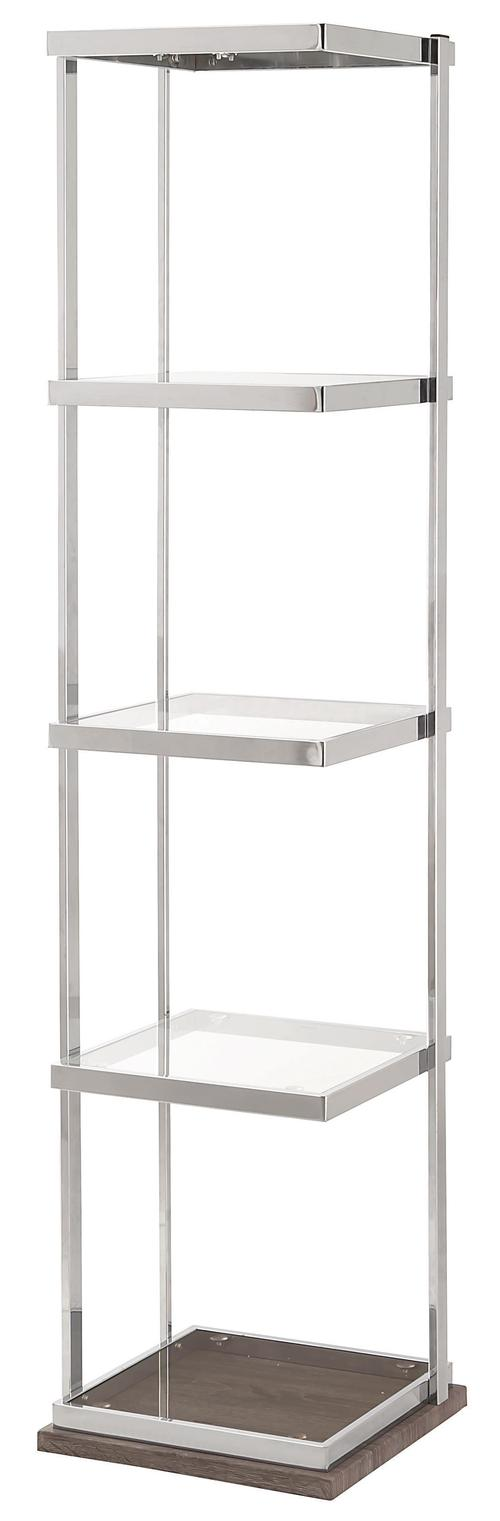 Coaster Bookcases Contemporary Weathered Grey/Chrome Metal Bookcase ...