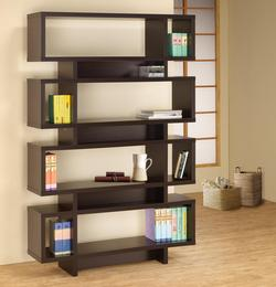 Bookcases Contemporary Cappuccino Finish Open Bookcase