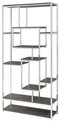 Bookcases Contemporary Metal Frame Bookcase with Weathered Grey Shelves