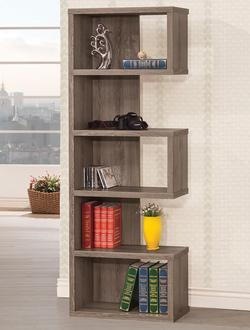 Bookcases Weathered Grey Semi-Backless Bookcase