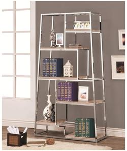 Bookcases Tapered Chrome Bookshelf with Staggered Wood Shelves
