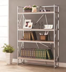 Bookcases Flashy Chrome Bookshelf with Reclaimed Wood Looking Shelves