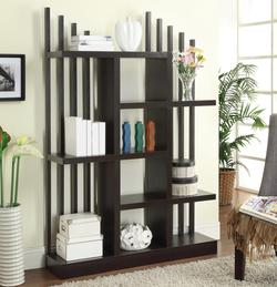 $170.30; Bookcases Contemporary Open Bookshelf with Staggered Shelves and  Slats